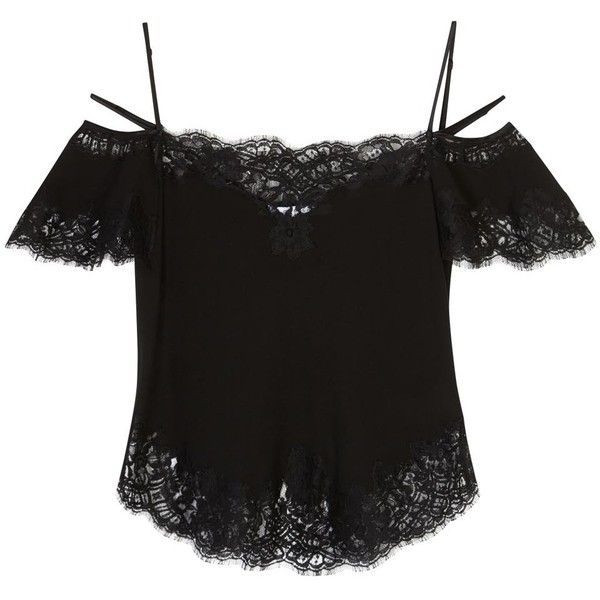 cb2eaf4e36b Womens Evening Tops Givenchy Black Lace-trimmed Silk Top ($1,970) ❤ liked  on Polyvore featuring tops, evening tops, off shoulder tops, off-the- shoulder ...