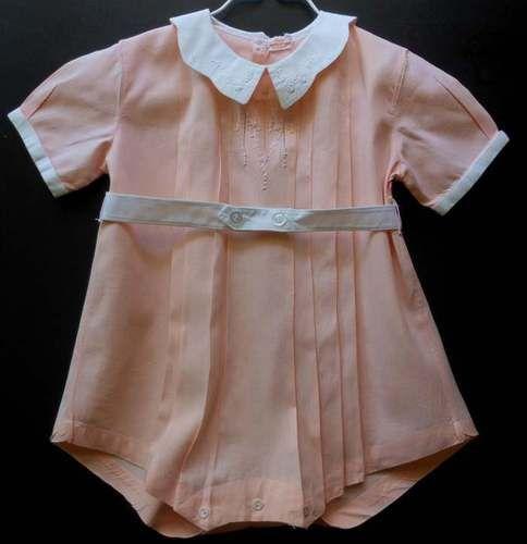 Vintage Peach Baby Toddler Boys Romper Circa 50 S Sweet