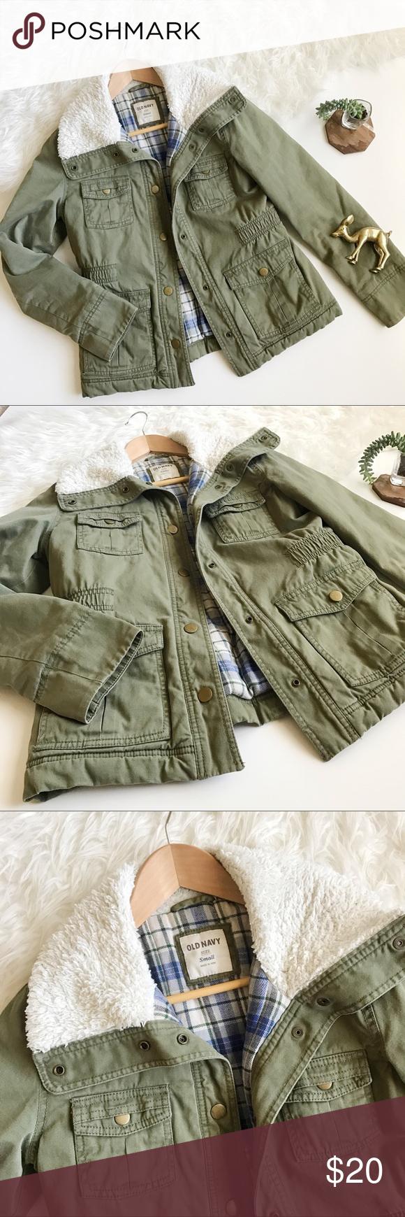 Off white flannel coat  OLD NAVY Utility Jacket u  Pinterest