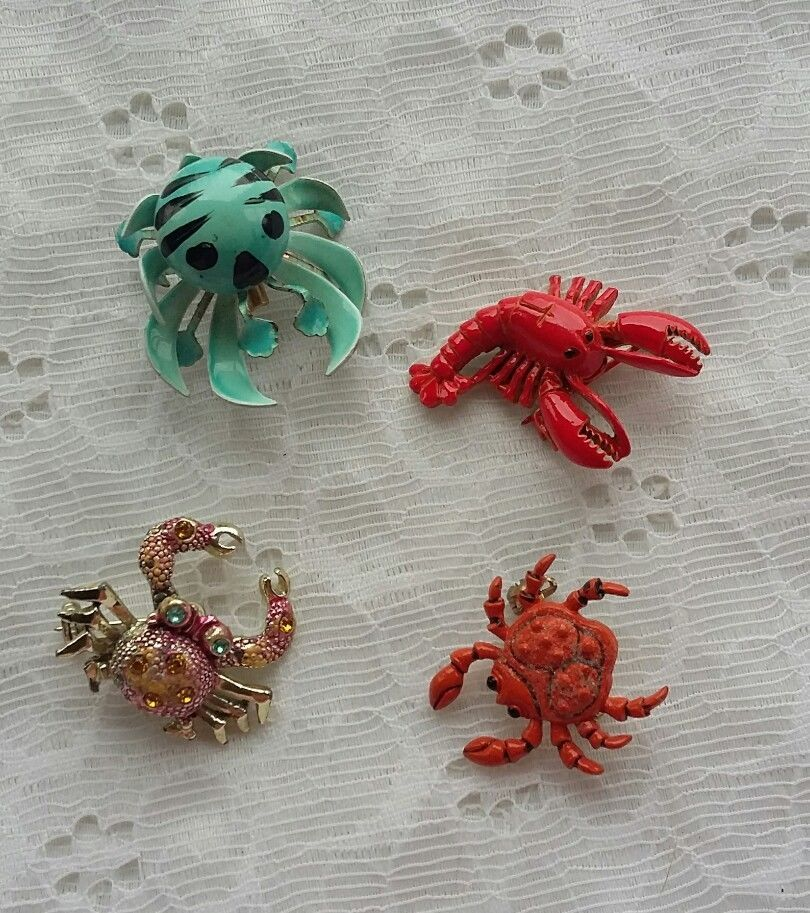 Vintage Lot of Crab / Lobster Pins / Brooches - 1 Signed | eBay