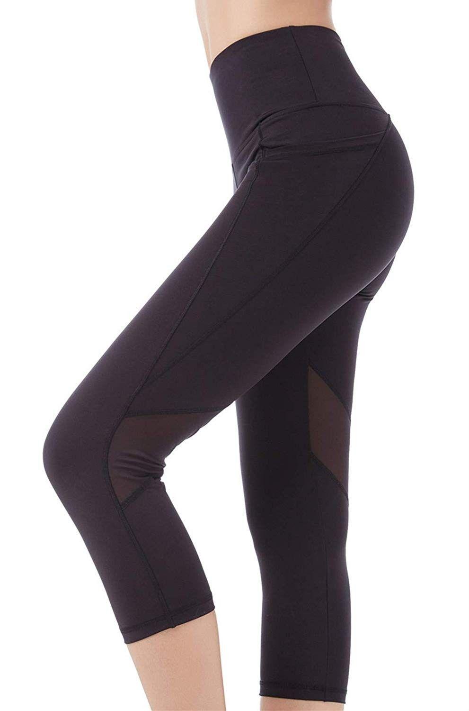 Women's Yoga Pants High Waist Workout Capri Leggings Sports Running Active Tights w Side Pocket - CJ...