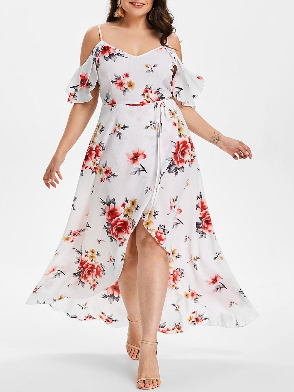 Plus size cold shoulder floral maxi flowing dress plus size