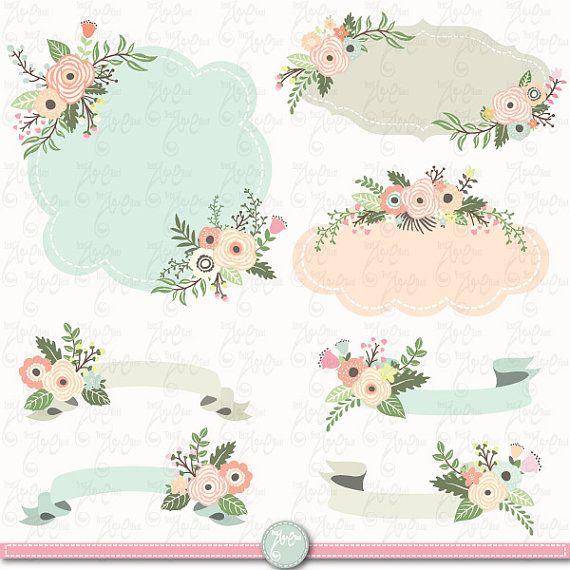 Banner flower. Wedding clip art floral