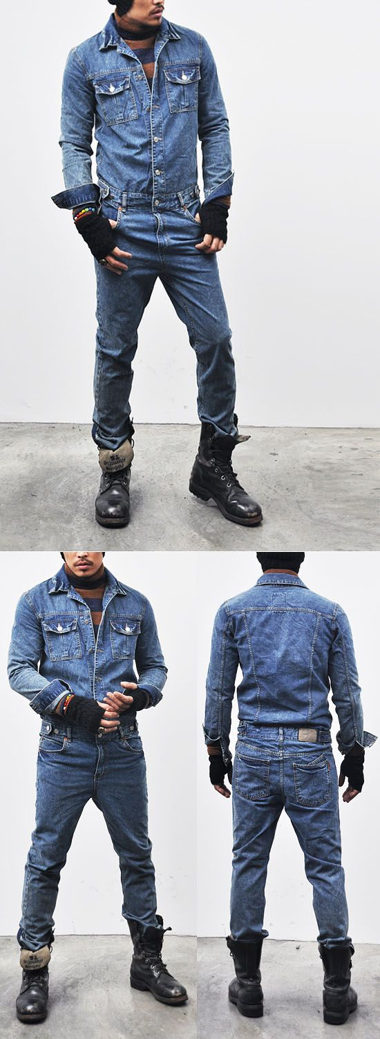bfeadd9750ce Bottoms    Jeans    Workwear Vintage Blue Denim Jumpsuit-Jeans 110 - Mens  Fashion Clothing For An Attractive Guy Look