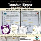 Editable Teacher Binder FREE Updates for Life-[Teacher Wee