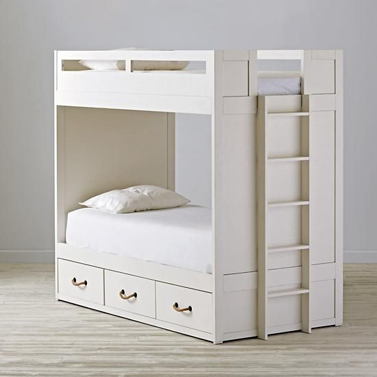 Topside White Glaze Bunk Bed The Land Of Nod White Bunk Beds