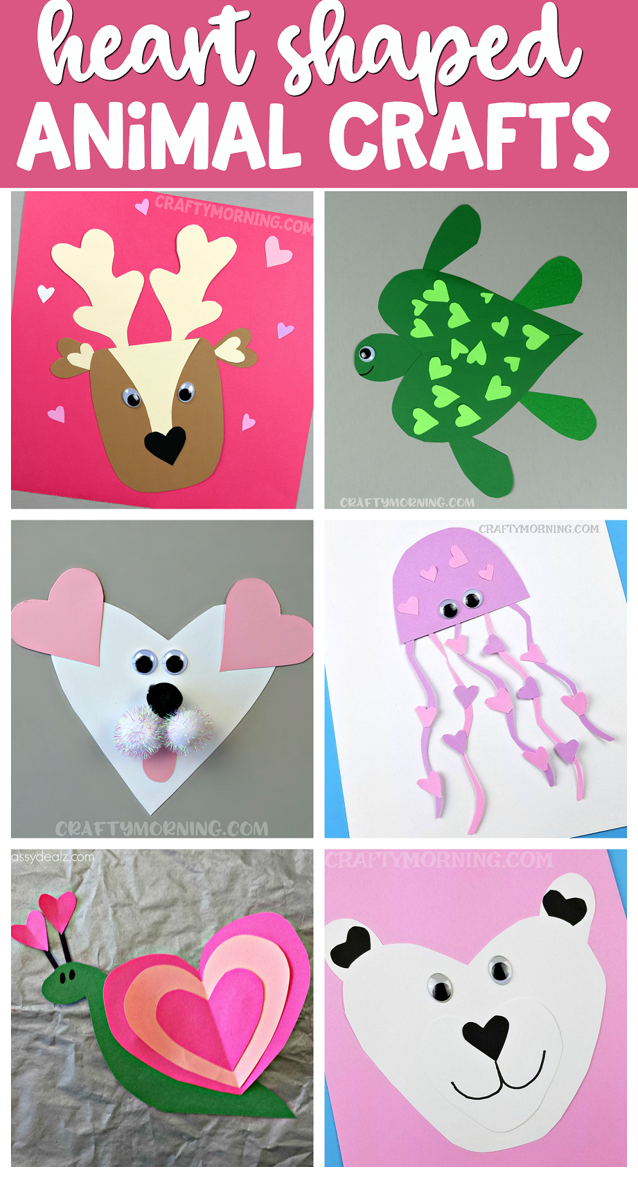 cutest heart shape animal crafts for valentine 39 s day kids will love making these easy paper art. Black Bedroom Furniture Sets. Home Design Ideas