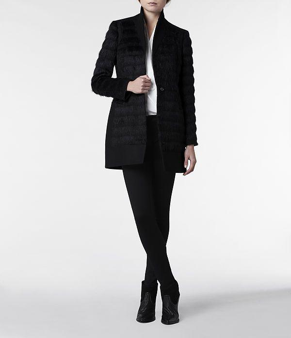 Womens Fur Shield Coat (Black) | ALLSAINTS.com