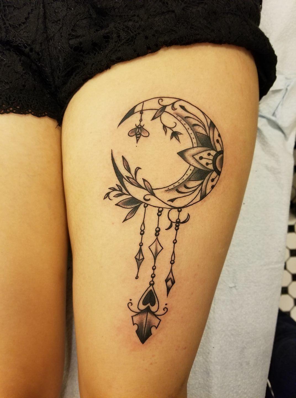 Moon Dream Catcher Leg Tattoo Leg Tattoos Moon Tattoo Tattoos For Guys