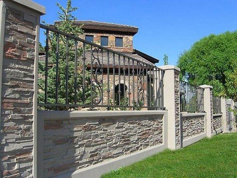 20 Marvelous Stone Fence Design Ideas For Front Yard Designerjewelry Gardeningtips Gardenfence Concrete Fence