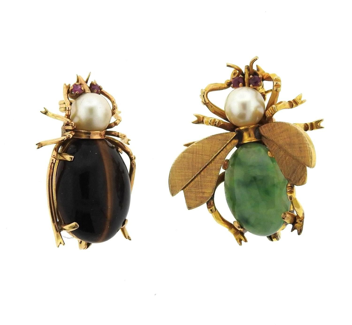 Antique Jade Tiger's Eye Ruby Pearl Gold Insect Brooch Pin Set
