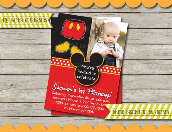 DIGITAL FILE Super Cute Mickey Mouse Invitation with Photo DIY on