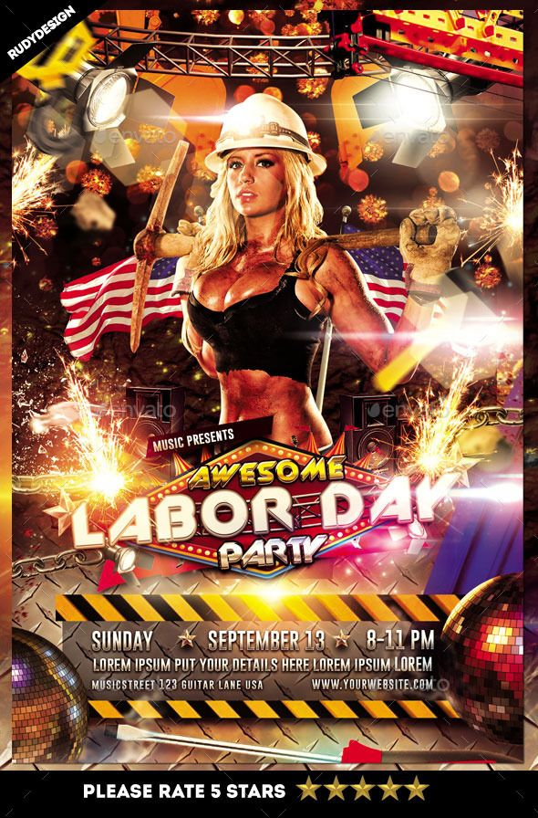 Labor Day Party Flyer | Party Flyer, Labour And Event Flyers