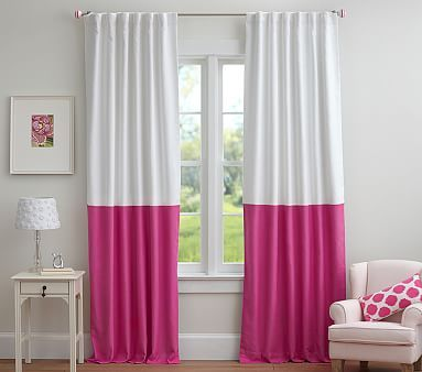 Color Block Blackout Curtain Panel Hot Pink Bedrooms Girl Room