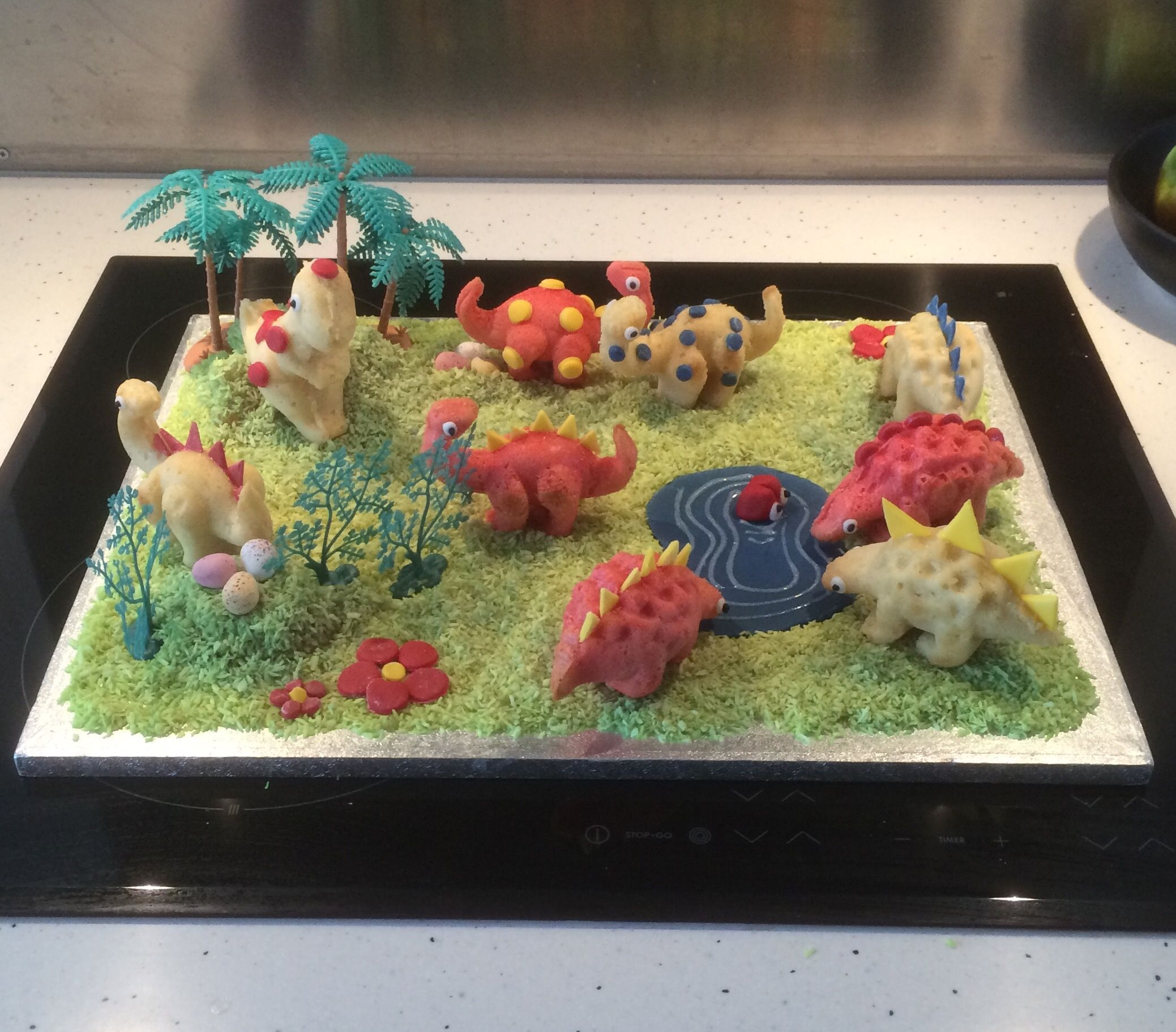 First try of the Lakeland dinosaur cake moulds cake Pinterest