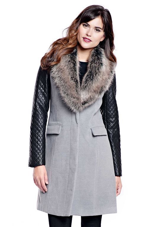 70d5772ad152 Grey Faux Wool Knee-Length Coat with Faux Fur Collar - 1