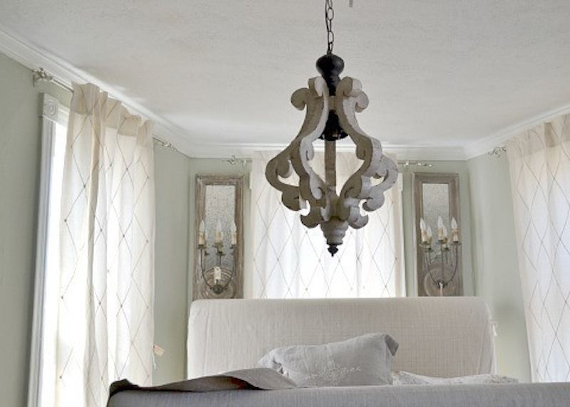 White wood cottage distressed chandelier pendant shabby French country chandelier