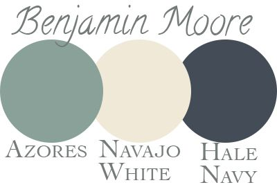 our exterior paint palette: Benjamin Moore Azores, Navajo White ...