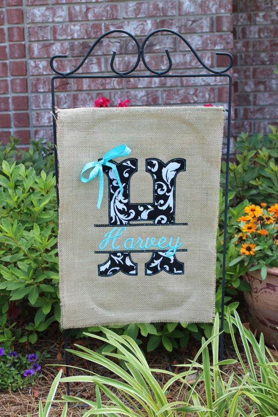 Burlap monogrammed garden flag Split letter with by stephstowell ...