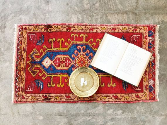 vintage turkish rug small red accent rug or by