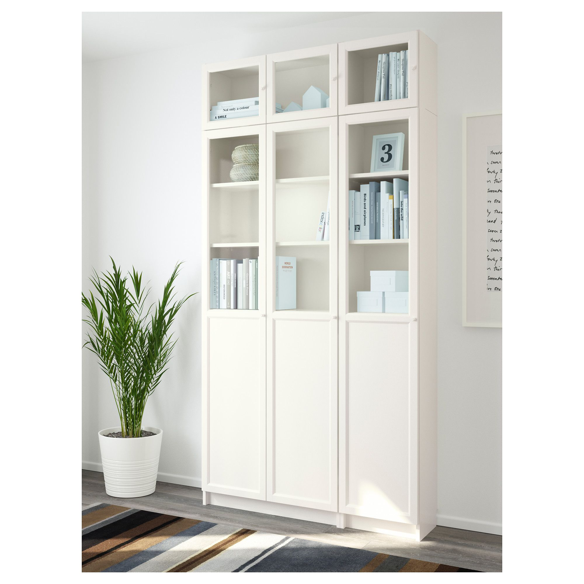 billy oxberg bookcase white glass 120x237x30 cm ikea billy shelves and bookcase white. Black Bedroom Furniture Sets. Home Design Ideas