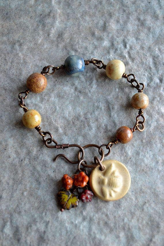 Reserved for T Busy Bee Ceramic Wire Wrapped Bracelet | Pinterest ...