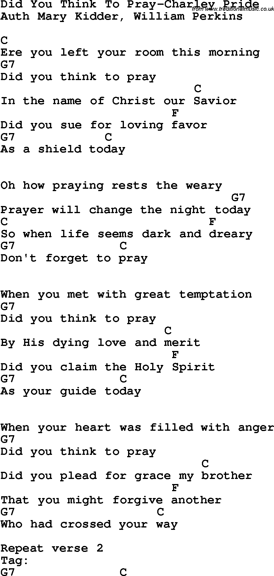 Country Southern And Bluegrass Gospel Song Did You Think To Pray