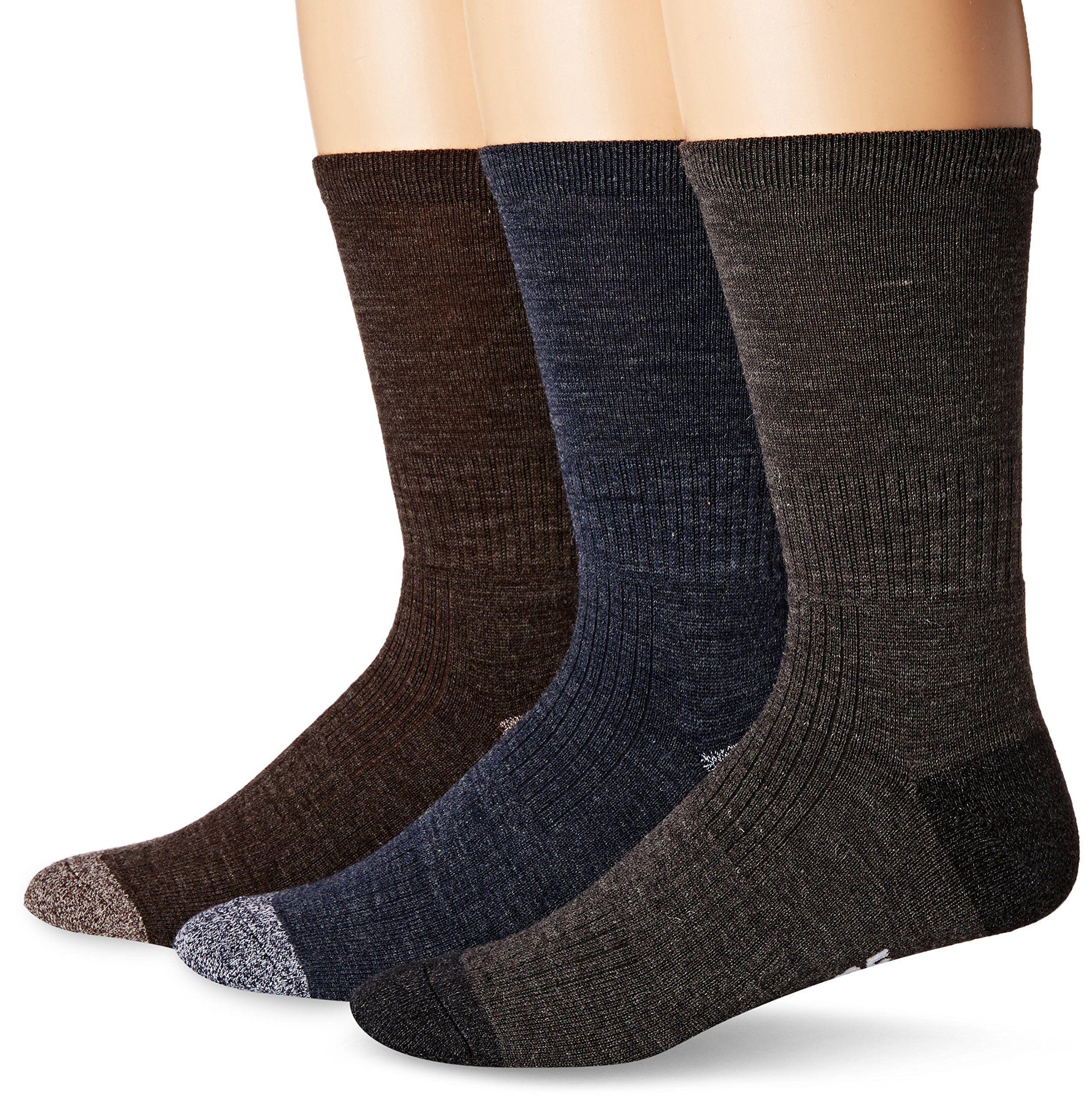 Skechers Mens 3 Pack Work Crew Sock Dark Brown 1013 Want
