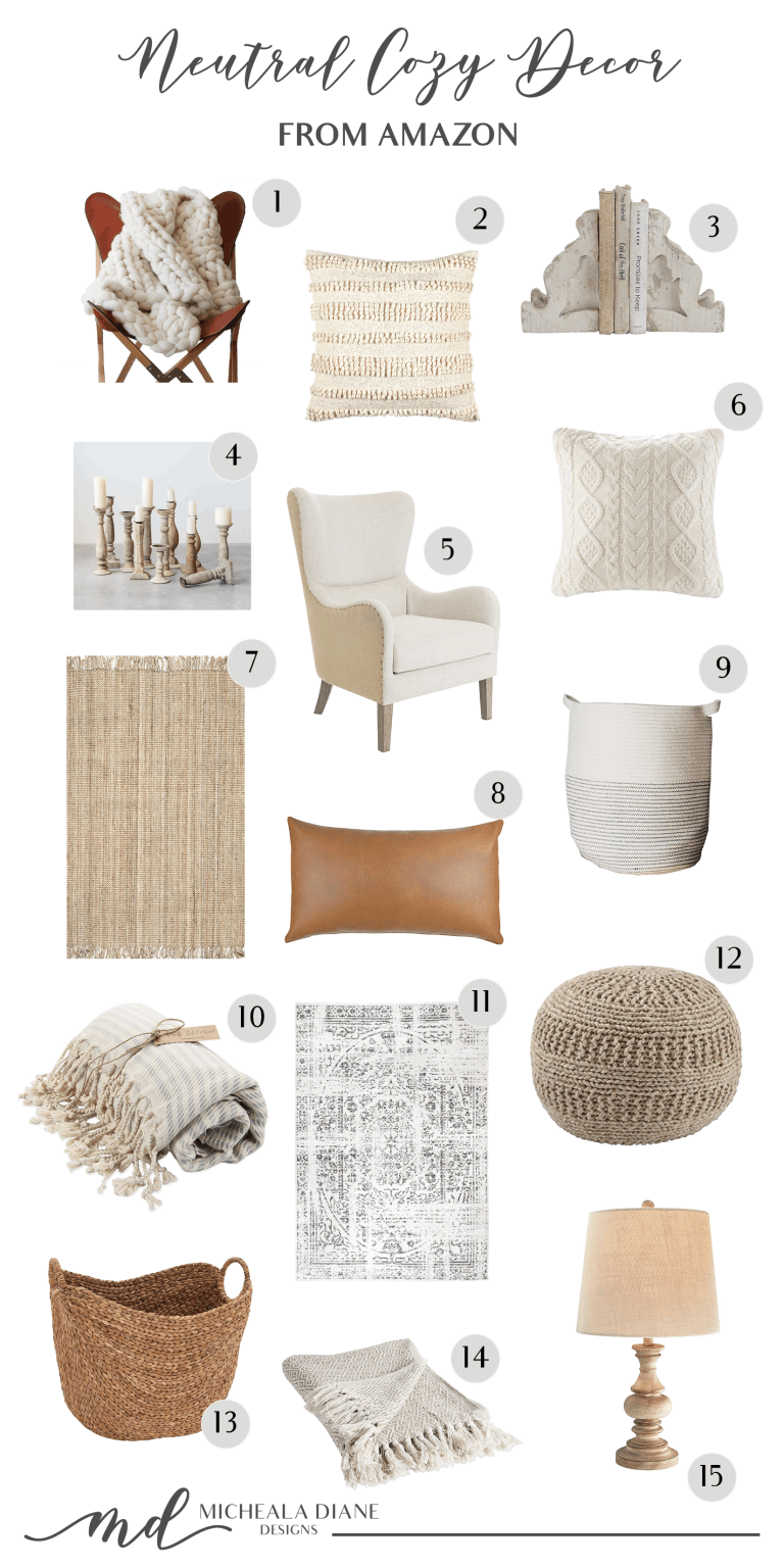 The best cozy neutral home decor from Amazon! #cozydecor #neutraldecor #farmhouse #homedecor #farmhousestyle