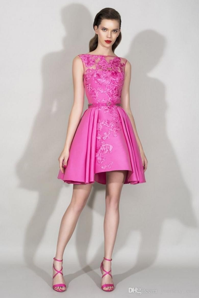 Zuhair Murad Short Prom Dresses 2016 Sexy Hot Pink Sheer Crew Neck ...