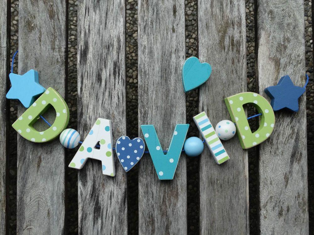 """DAVID"" NAMENSKETTE KINDERZIMMER HOLZ BUCHSTABEN BABY NAME"