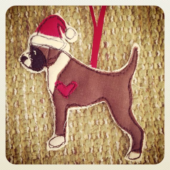 Boxer dog appliqued fabric Christmas Tree Decoration, Brown, black and red