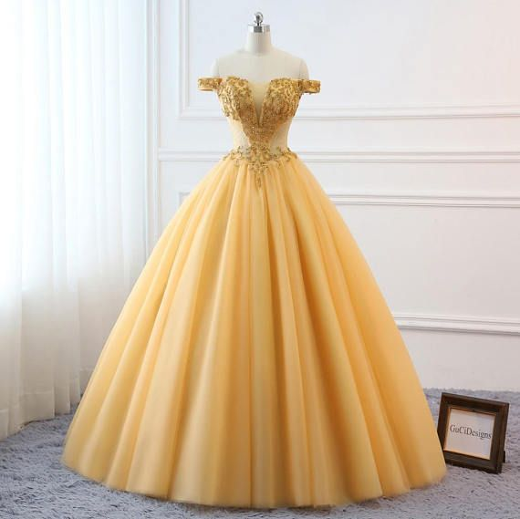 a3e992a5c14 2018 Gold Prom Ball Gown Beaded Off Shoulder Quinceanera Dress Tulle  Masquerade Prom Dress Wedding Bride Gown Corset Back Custom Size Color