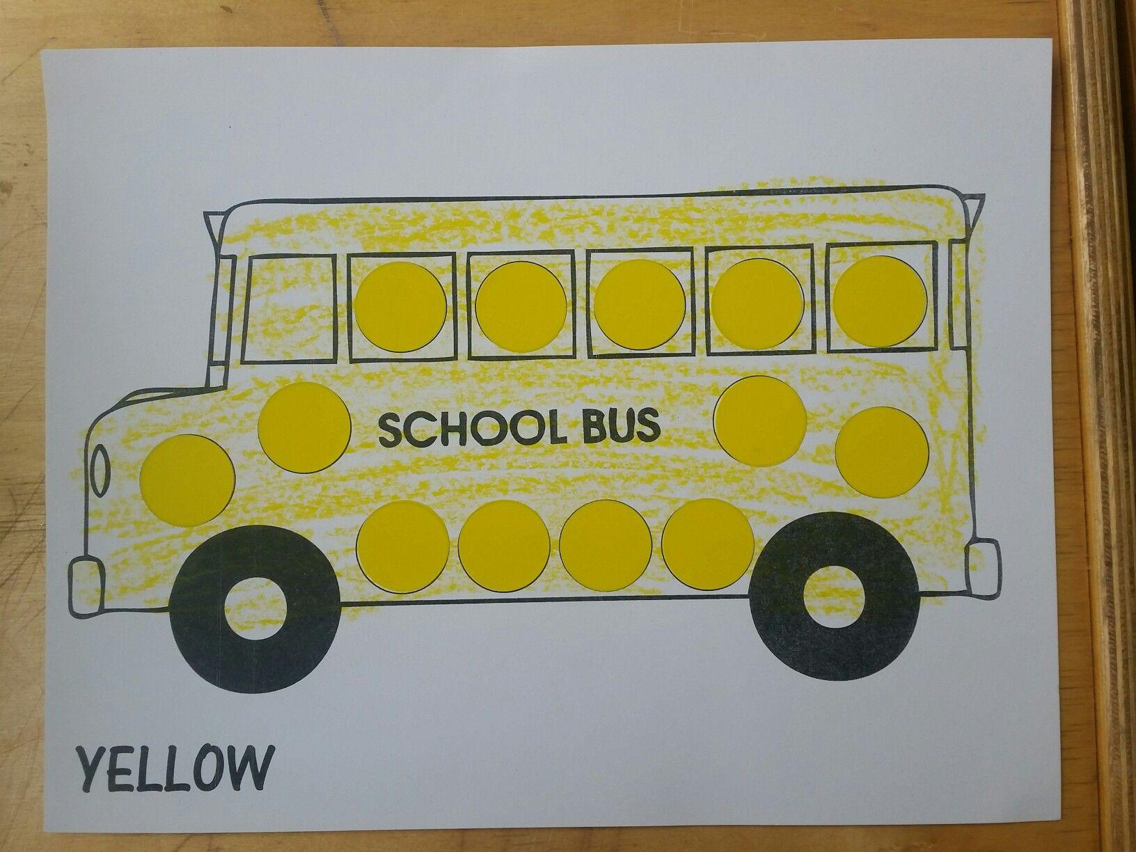 color yellow school bus craft for nursery preschool children. | My ...