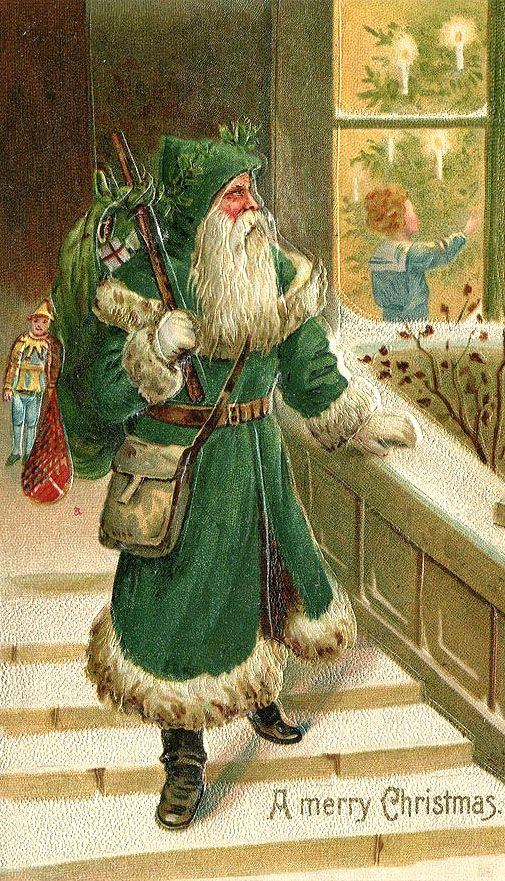 eda0bc13e1 A Merry Christmas from a vintage St. Nicholas (dressed in green ...