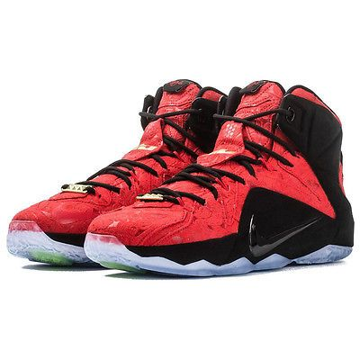62523a4e317 Nike Lebron XII 12 Ext Mens 748861-600 Red Paisley Basketball Shoes Size 9.5