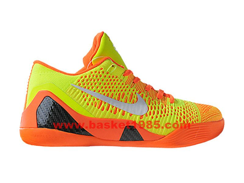 Nike Kobe 9 Elite Low Chaussures De Basket Pas Cher Pour Homme Jaune Orange  Noir 639045