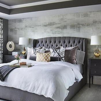 Gray Velvet Tufted Headboard With Black Nightstands Home Decor