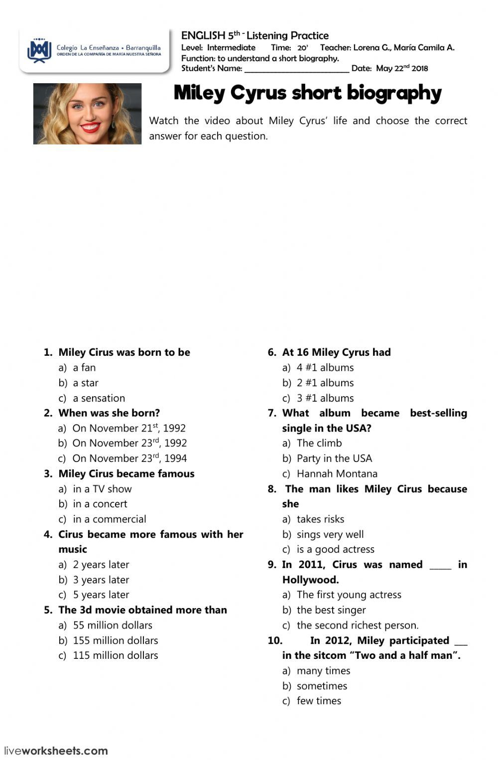Listening Comprehension Interactive And Downloadable Worksheet You Can Do The Exercises Listening Skills Worksheets Good Listening Skills Practices Worksheets [ 1525 x 1000 Pixel ]