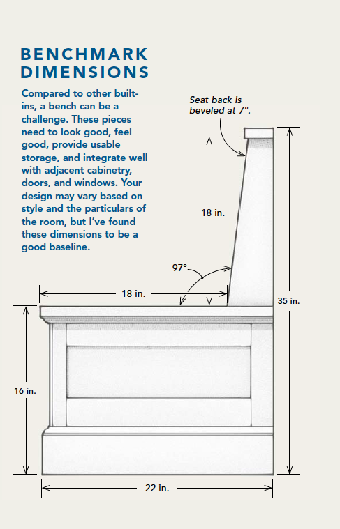 Example Of Built In Bench Dimensions For Reference Dining Nook
