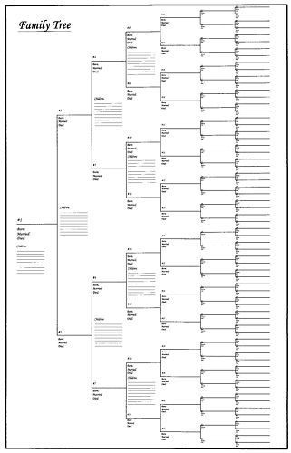 Large Family Tree Chart Bracket Style 24 X 36 Blank Family Tree Free Family Tree Template Blank Family Tree Template