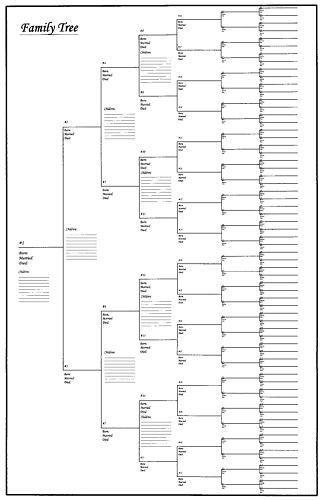 Large Family Tree Chart Bracket Style 24\