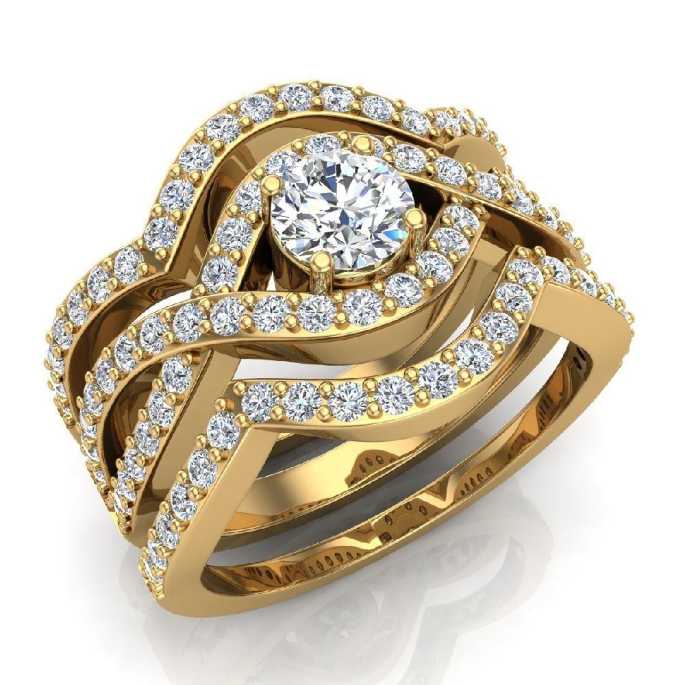 Criss Cross Intertwined Diamond Wedding Ring Set w