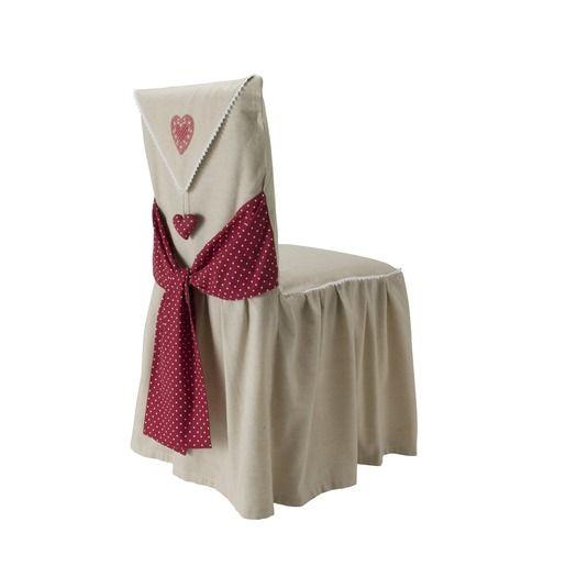 Housse De Chaise Modele Cœur 45 X 60 Cm Beige Housse De Chaise Housses Chaise
