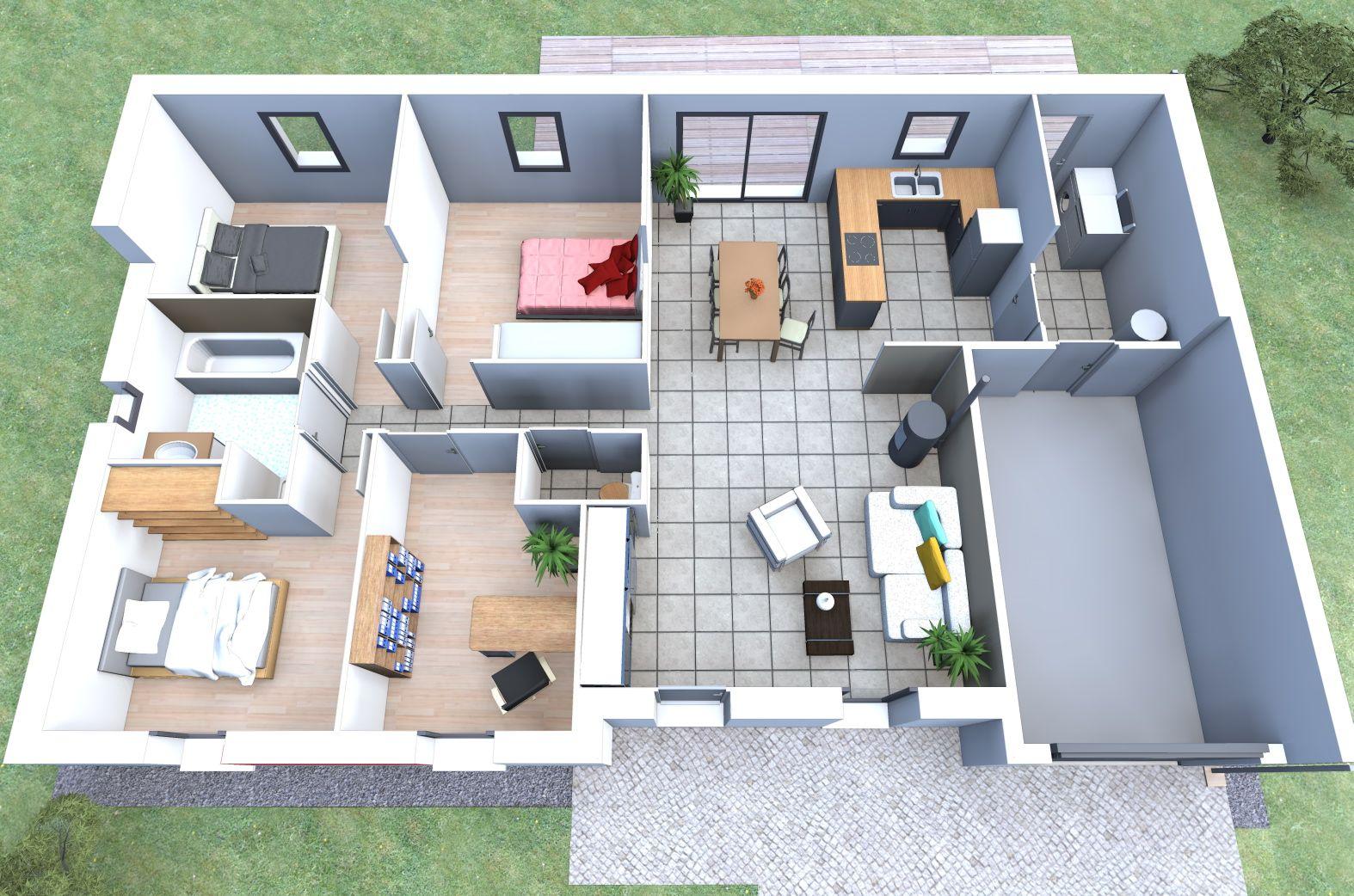 Votre future maison 4 chambres garage par alliance for Plan de maison constructeur