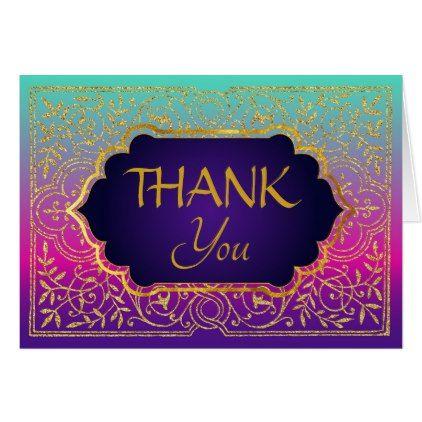 Bollywood Arabian Nights Thank You Note Card Arabian nights, Card