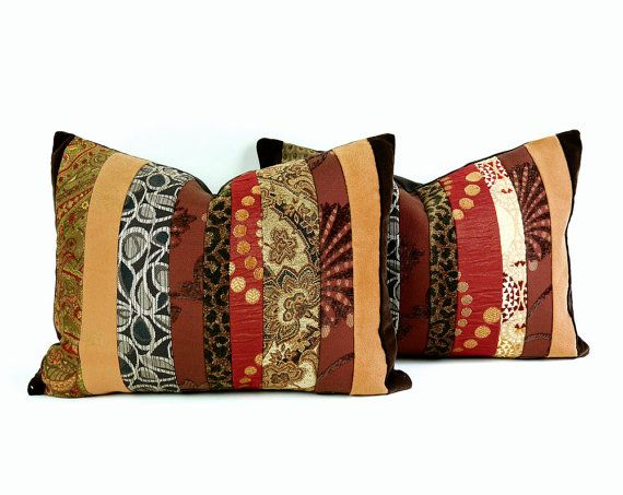 Rustic Color Block Pillows, Multicolored Brown Rust Gold Stripes, Color Banded, Unique,Textured, Eco Friendly, 12x18 Lumbar