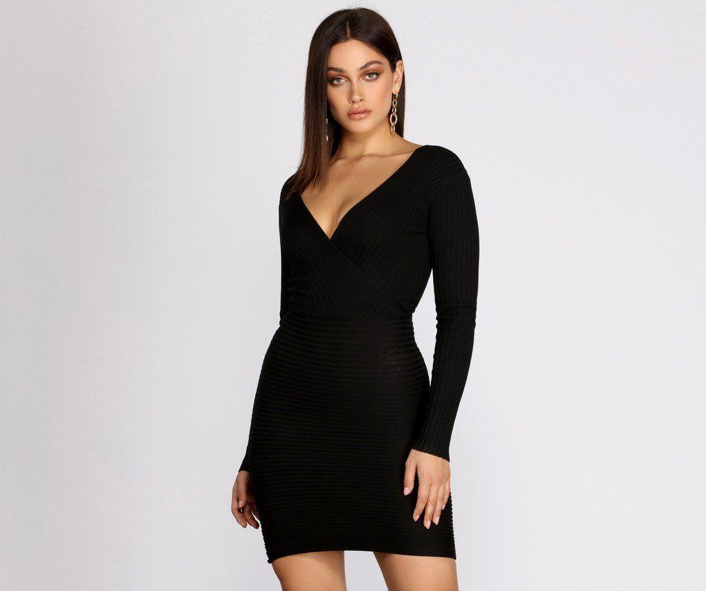 Long Sleeve Ribbed Mini Dress In 2021 Ribbed Mini Dress Dresses Long Sleeve Dress [ 858 x 1024 Pixel ]