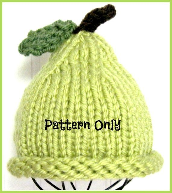 Pear Hat Knitting Pattern from Baby to Toddler to Child via Etsy - infant toddler specialist sample resume