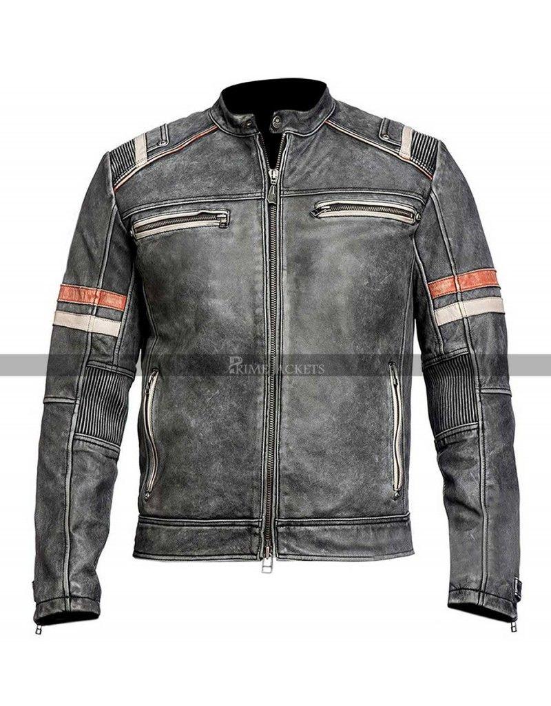 Vintage Black Motorcycle Cafe Racer Cafe Racer Leather Jacket Distressed Leather Jacket Leather Jacket Men
